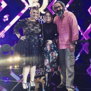 PIOTPs Muffy Potter and Trudi-Ann Tierney with 'Journey' director Mohammad Ghorbankarimi at the 2016 Seoul International Drama Awards.