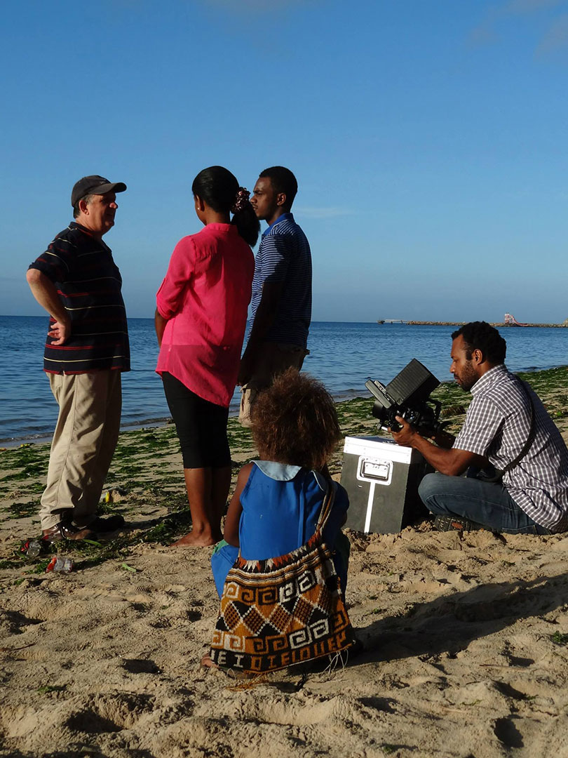 PIOTP filming on-location--on a beach in Papua New Guinea