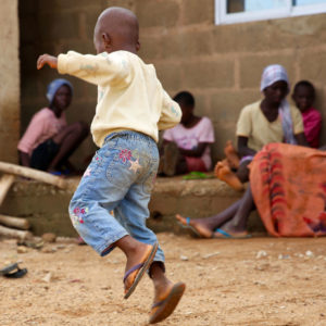 Child playing hopscotch at the Favoured Sisters orphanage in Nigeria.