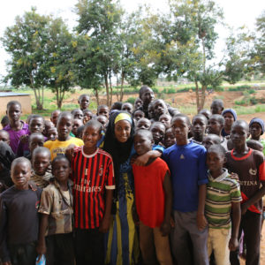 Nafisa Abdullahi with boys at the Favoured Sisters orphanage in Nigeria.