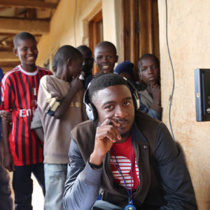 PIOTP production member with boys at the Favoured Sisters orphanage in Nigeria.